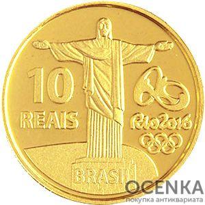 Золотая монета 10 Реалов (10 Reais) Бразилия