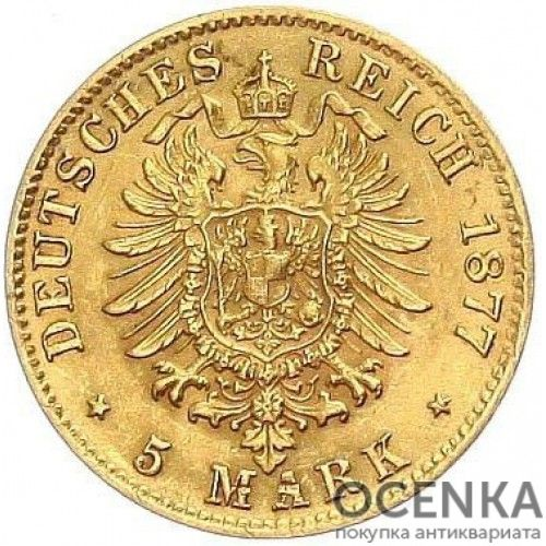 Золотая монета 5 Марок Германия - 2