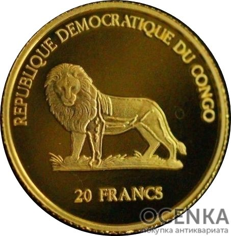 Золотая монета 20 Франков (20 Francs) Конго - 2