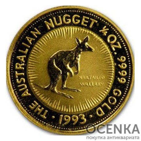 Золотая монета 25 долларов 1993 год. Австралия. Красный кенгуру