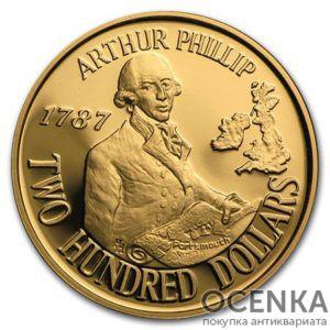 Золотая монета 200 долларов 1987 год. Австралия. Артур Филлип