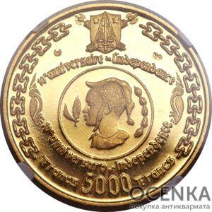 Золотая монета 5000 Франков (5000 Francs) Камеруна