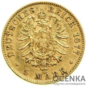 Золотая монета 5 марок Германия