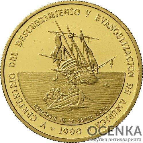 Золотая монета 500 Песо (500 Pesos) Доминикана - 3