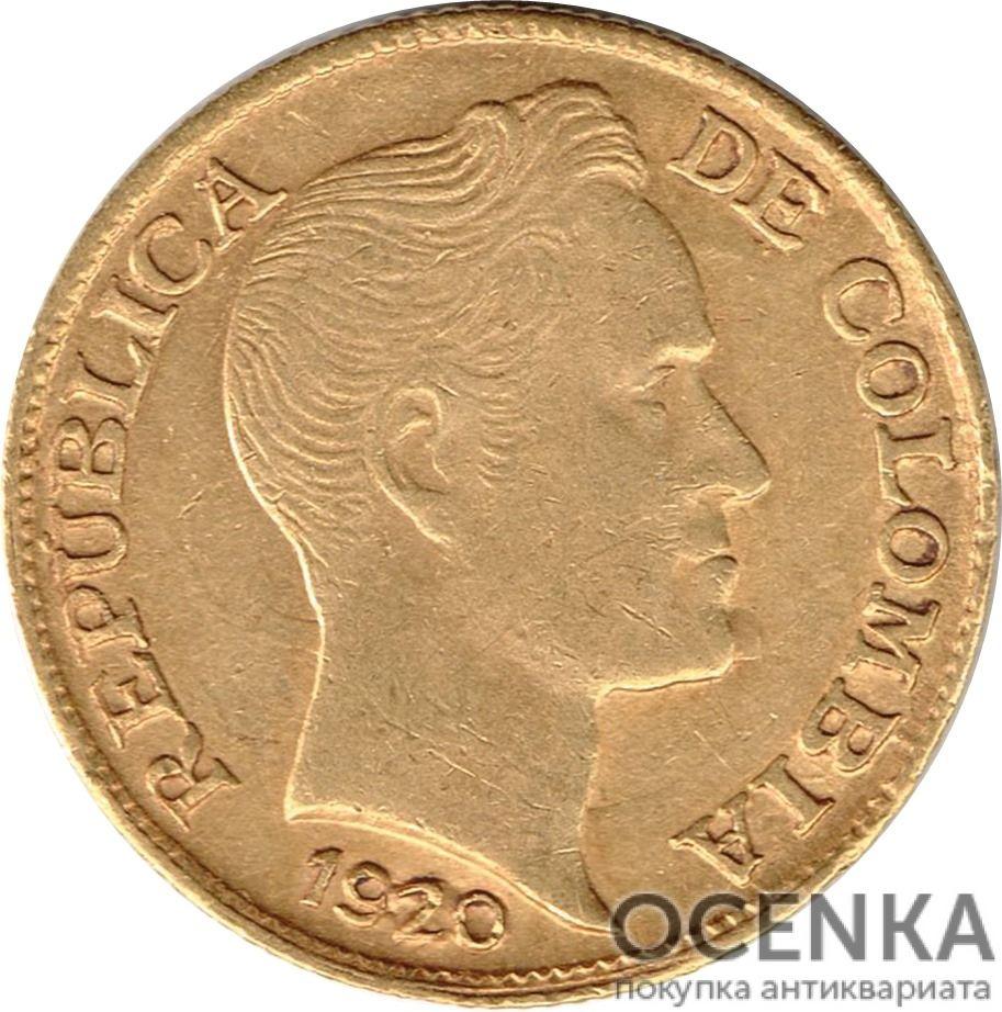 Золотая монета 2½ Песо (2½ Pesos) Колумбия - 3