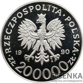 Серебряная монета 200 000 Злотых (200 000 Złotych) Польша