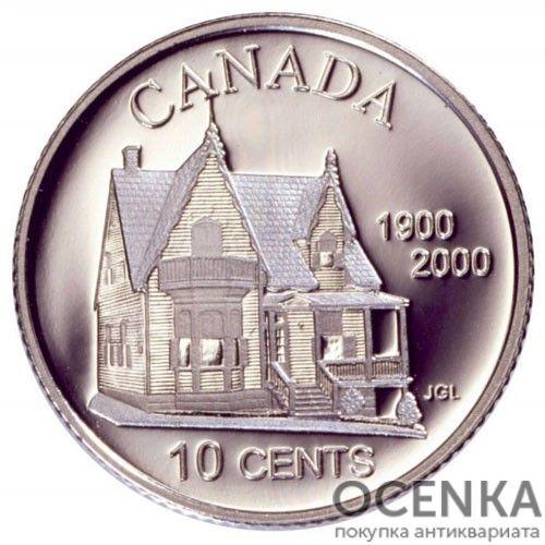 Серебряная монета 10 Центов Канады - 2