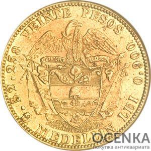 Золотая монета 20 Песо (20 Pesos) Колумбия