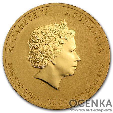 Золотая монета 1000 долларов 2008 год. Австралия. Лунар. Год Крысы
