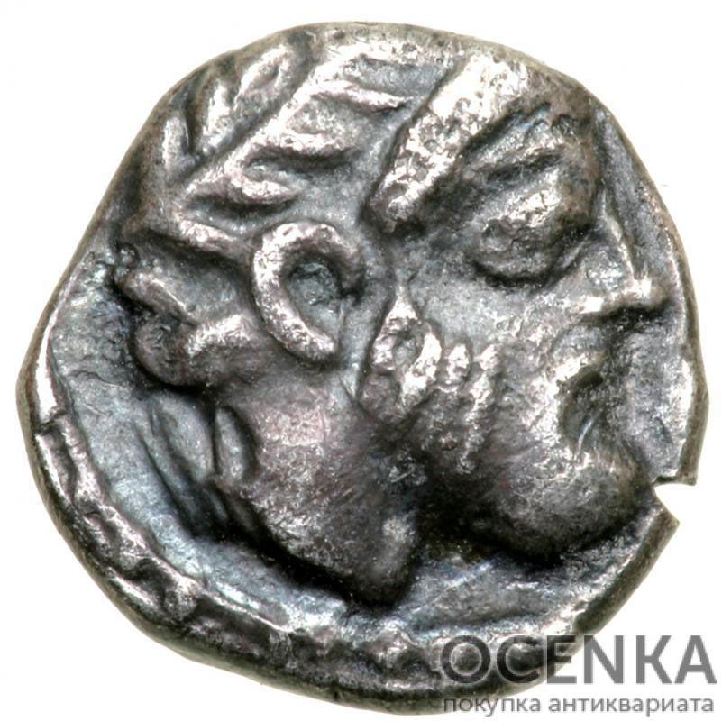 Серебряная монета Обол Древней Греции - 7