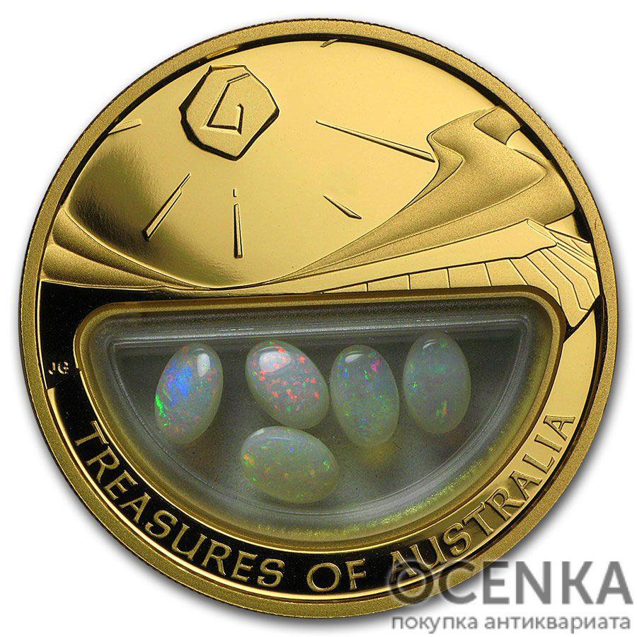 Золотая монета 100 долларов 2008 год. Австралия. Сокровища Австралии. Опалы - 1