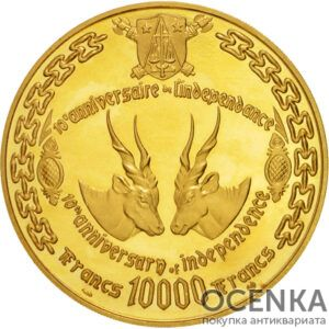 Золотая монета 10 000 Франков (10 000 Francs) Камеруна