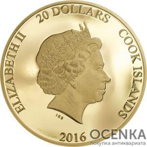 Золотая монета 20 Долларов Островов Кука