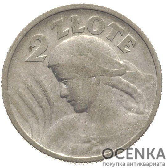 Серебряная монета 2 Злотых (2 Złote) Польша
