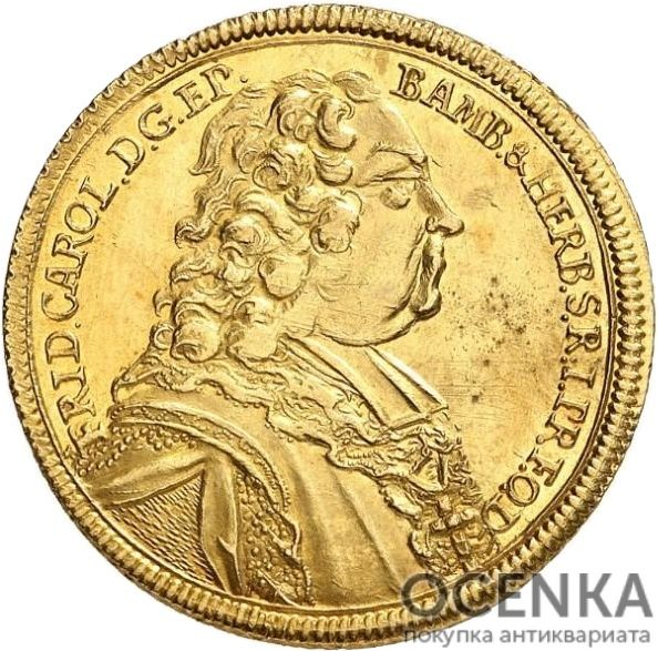 Золотая монета 10 Гульденов Германия - 5