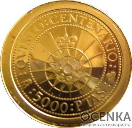 Золотая монета 5000 Песет (5000 Pesetas) Испания