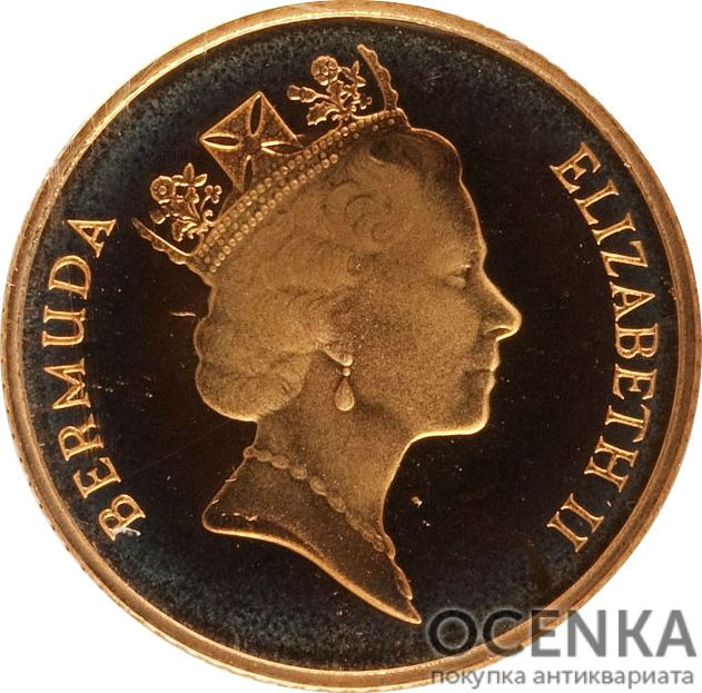 Золотая монета 25 центов Бермудских островов - 1
