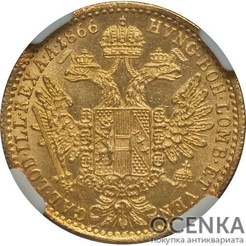 Золотая монета 1 дукат Австро-Венгрии - 4