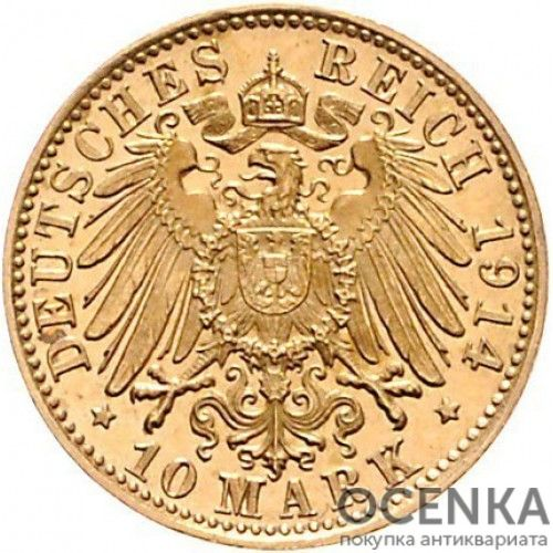 Золотая монета 10 Марок Германия - 8