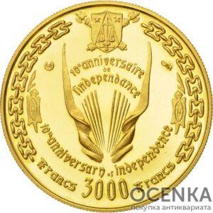 Золотая монета 3000 Франков (3000 Francs) Камеруна