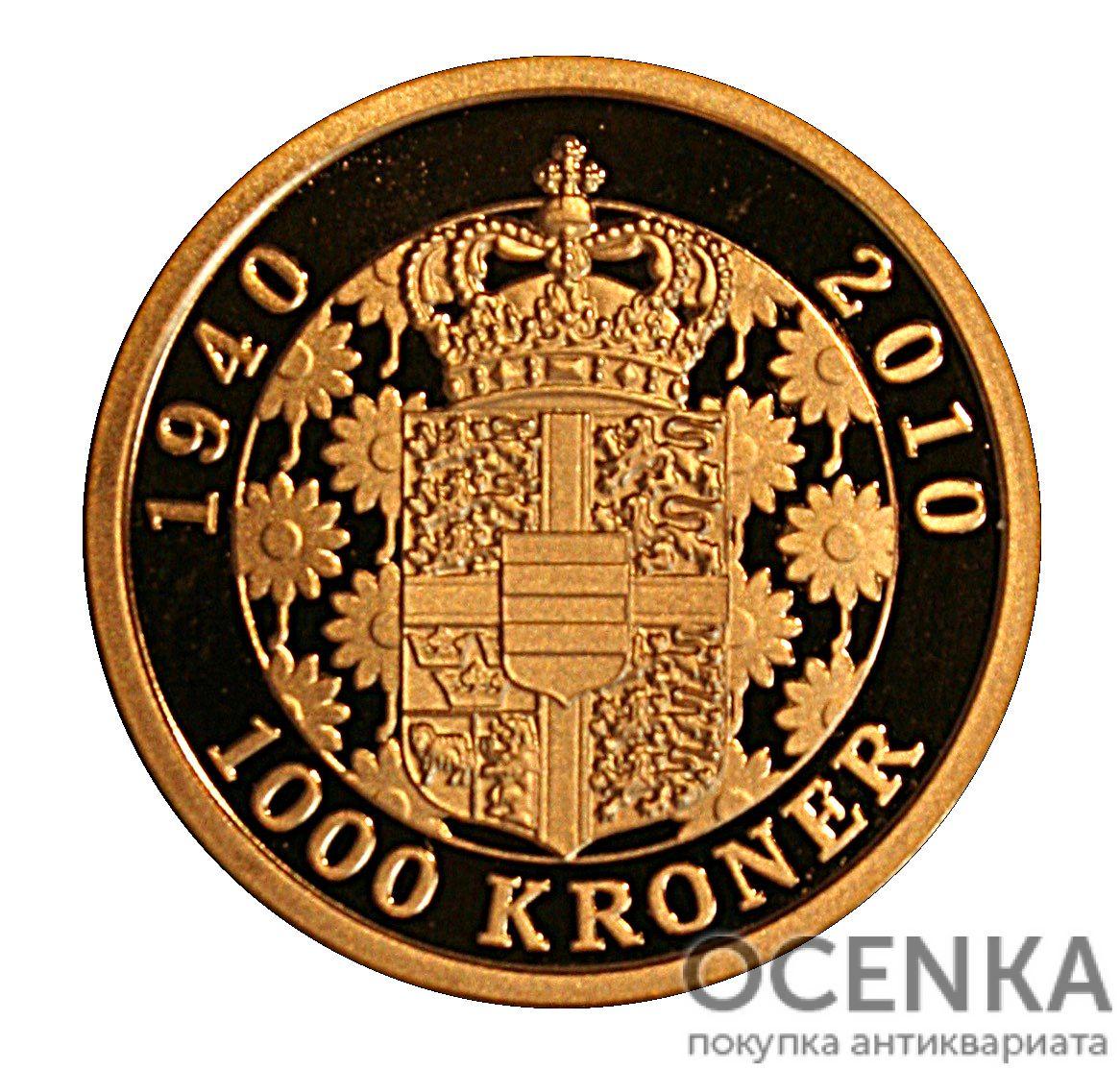Золотая монета 1000 Крон (1000 Kroner) Дания - 2