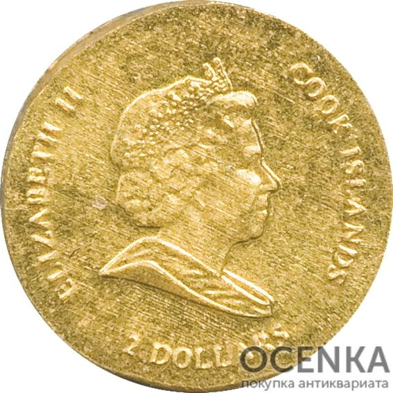 Золотая монета 2 Доллара Островов Кука