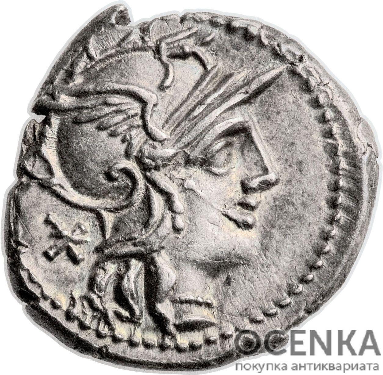 Серебряный республиканский Денарий Тиберия Минуция Авгурина, 134 год до н.э.