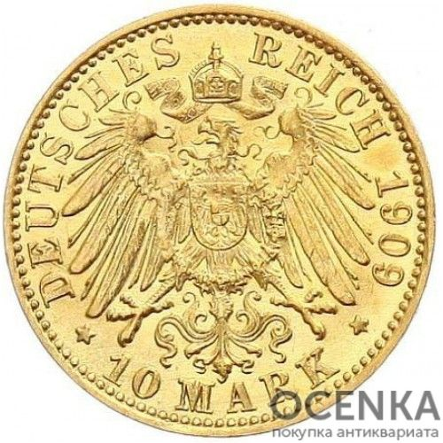 Золотая монета 10 Марок Германия - 4