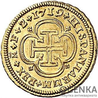 Золотая монета 2 Эскудо (2 Escudos) Испания - 4