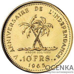 Золотая монета 10 Франков (10 Francs) Конго