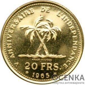 Золотая монета 20 Франков (20 Francs) Конго