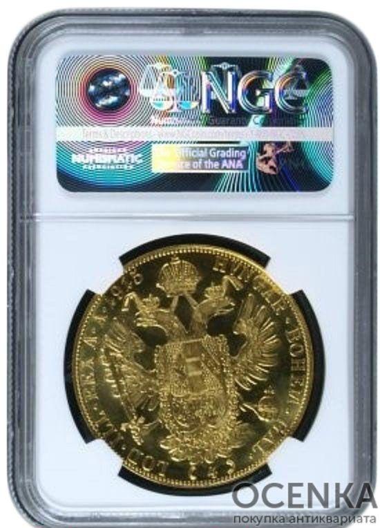 Золотая монета 4 Дуката Австро-Венгрии в слабе - 1