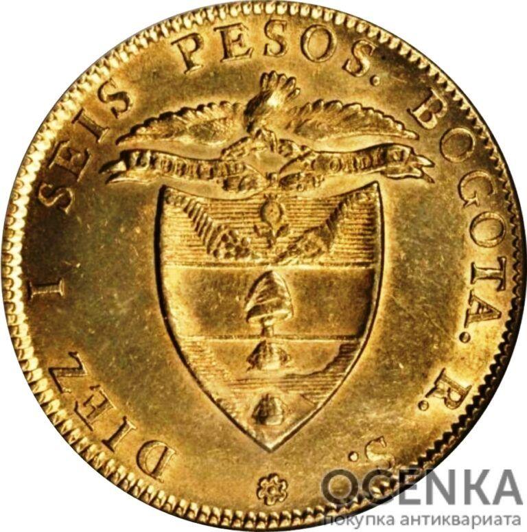 Золотая монета 16 Песо (16 Pesos) Колумбия