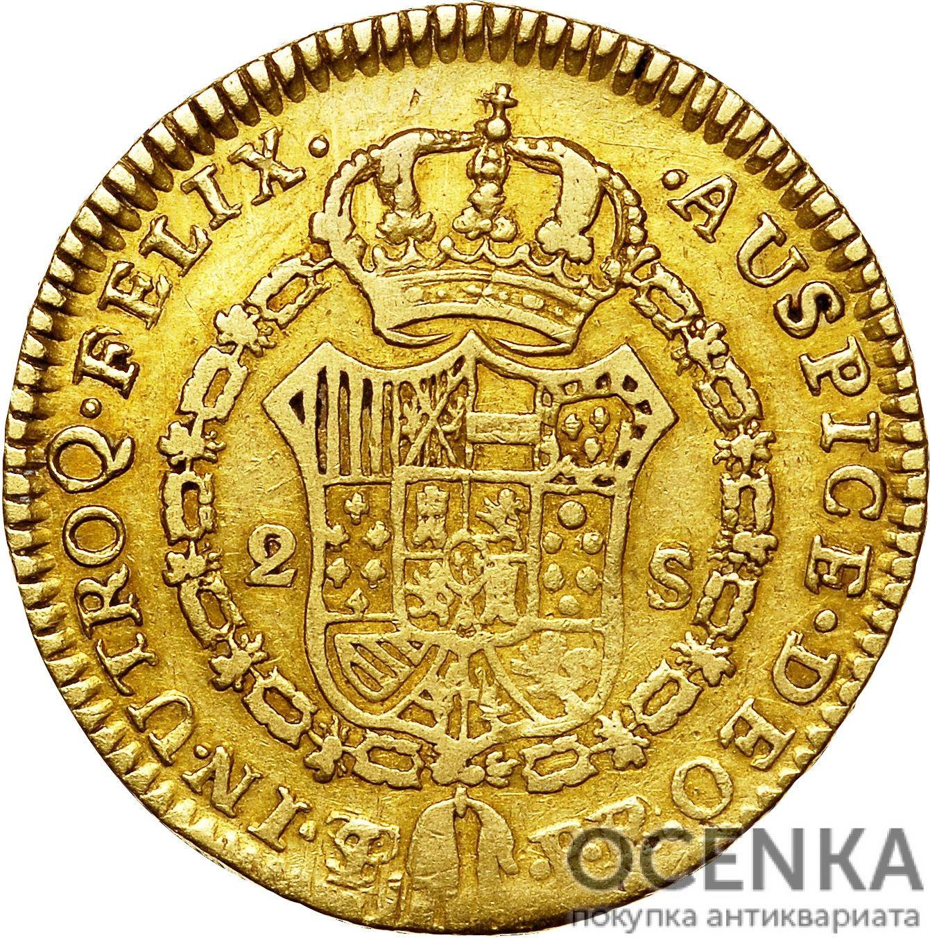 Золотая монета 2 эскудо (2 Escudos) Боливия