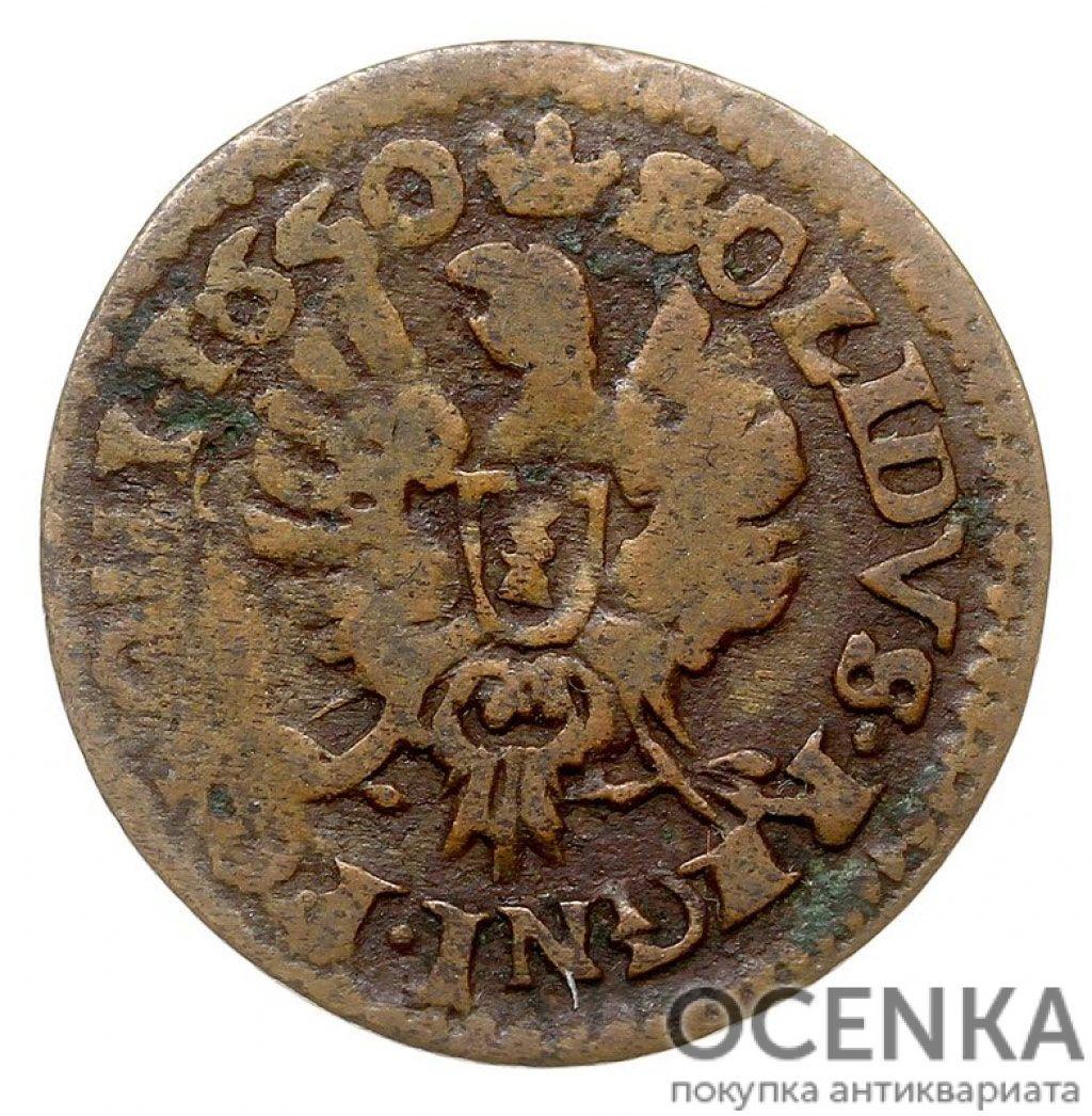 Медная монета Шеляг Средневековой Европы - 3