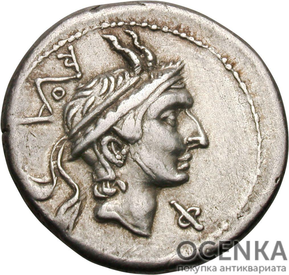 Серебряный Республиканский Денарий Луция Марция Филиппа, 113-112 год до н.э.