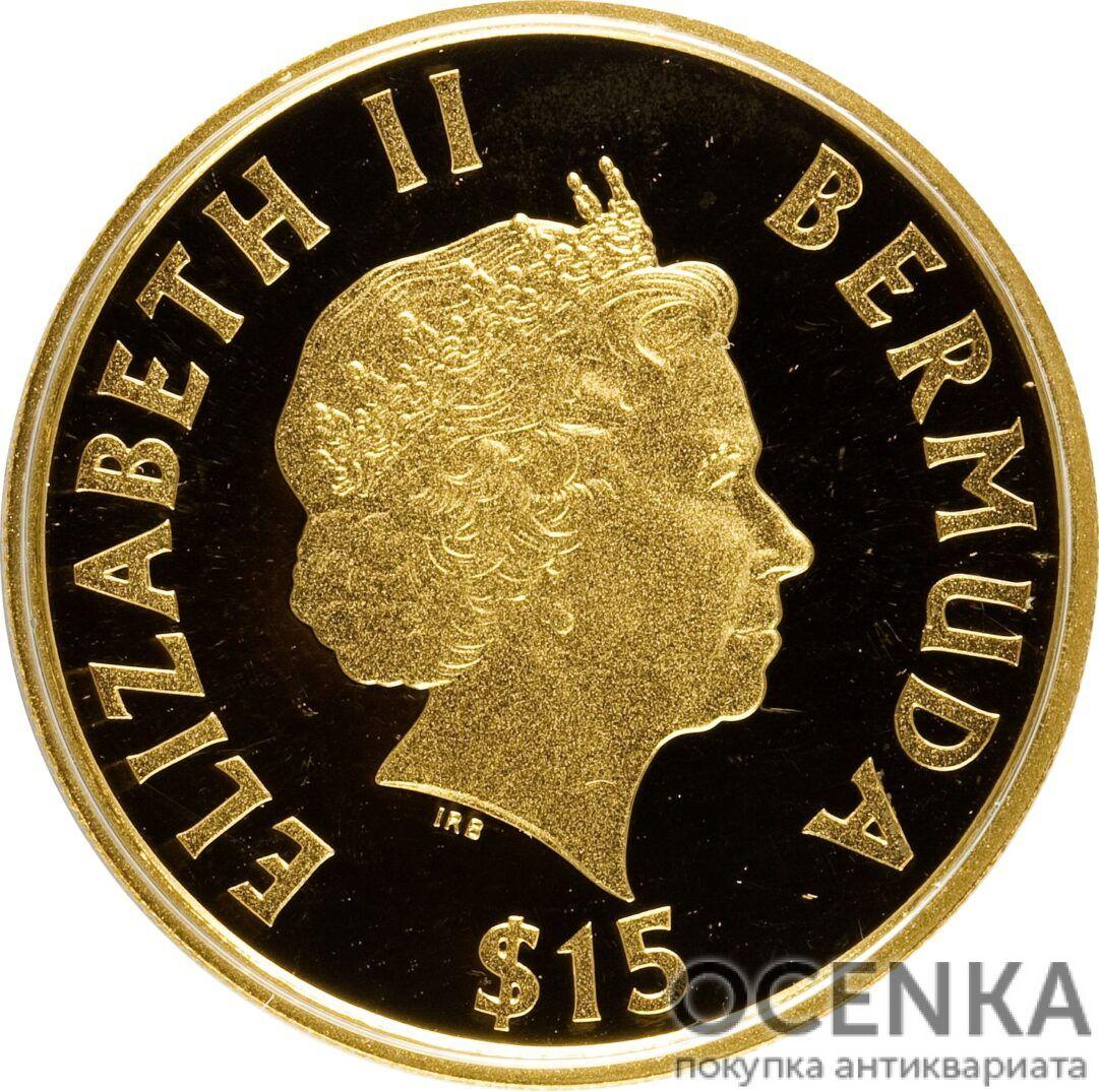 Золотая монета 15 долларов Бермудских островов - 2