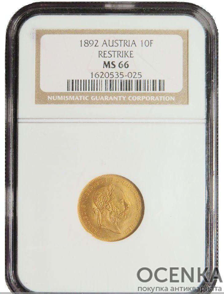 Золотая монета 4 флорина 10 франков Австро-Венгрии в слабе