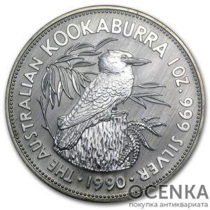 Серебряная монета 5 долларов 1990 год. Австралия. Кукабарра