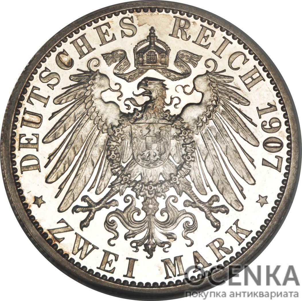 Серебряная монета 2 Марки (2 Mark) Германия - 7