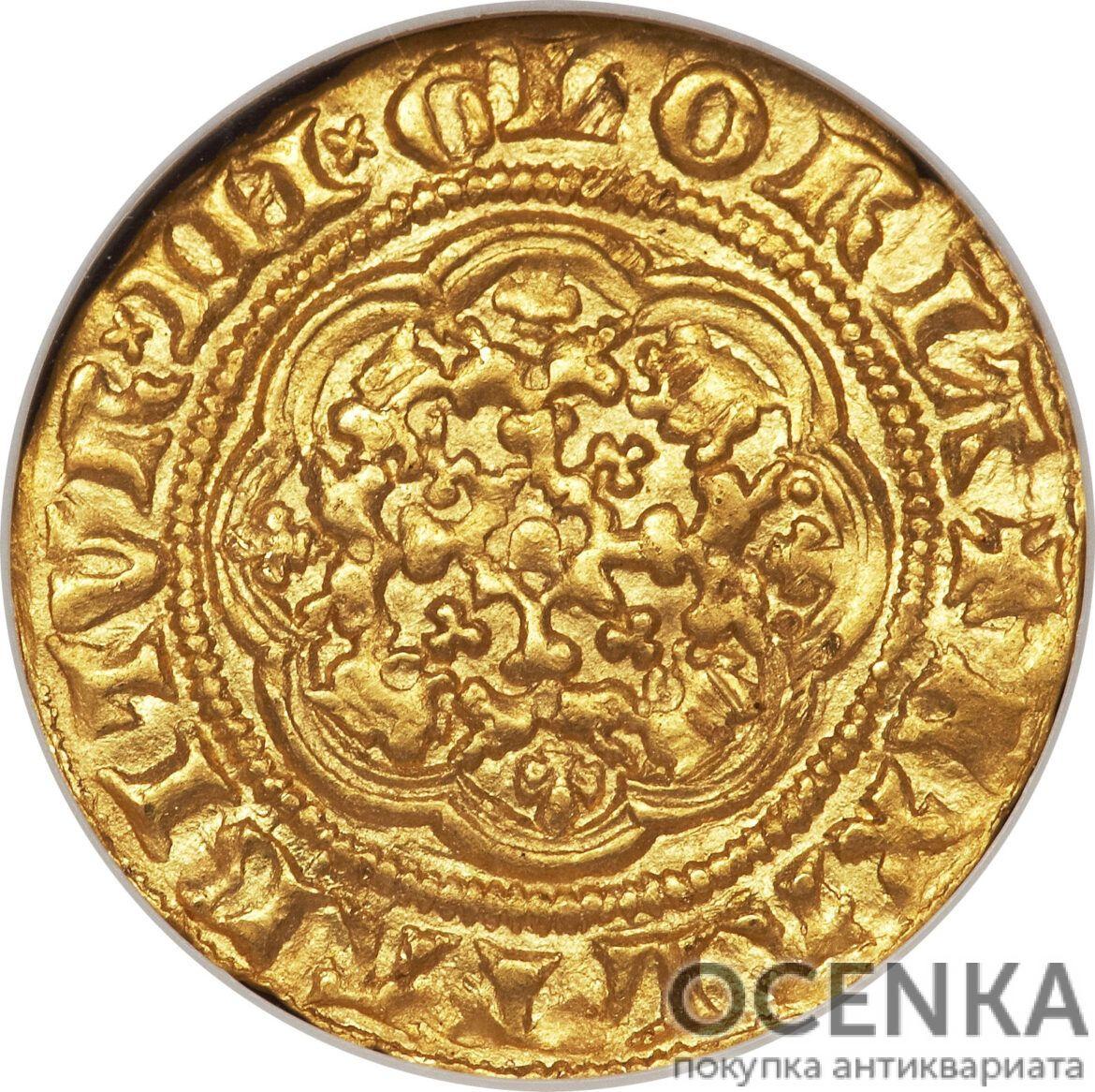 Золотая монета ¼ Noble (1/4 нобля) Великобритания - 1