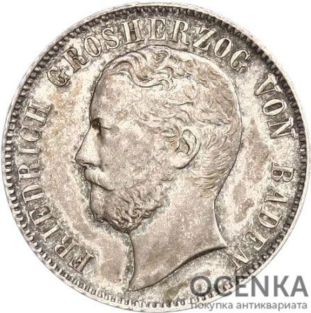 Серебряная монета ½ Гульдена (½ Gulden) Германия - 3