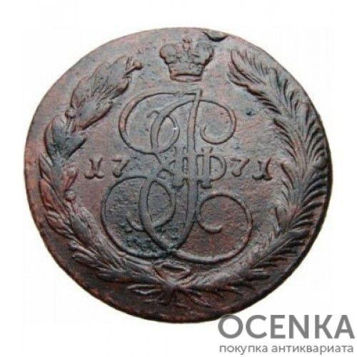 Медная монета 5 копеек Екатерины 2 - 7