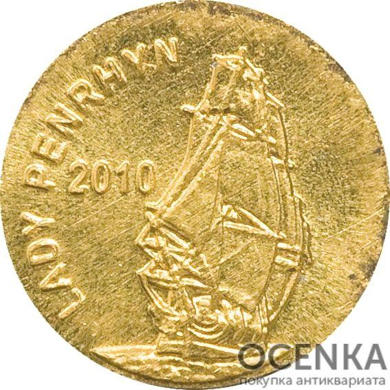 Золотая монета 2 Доллара Островов Кука - 1