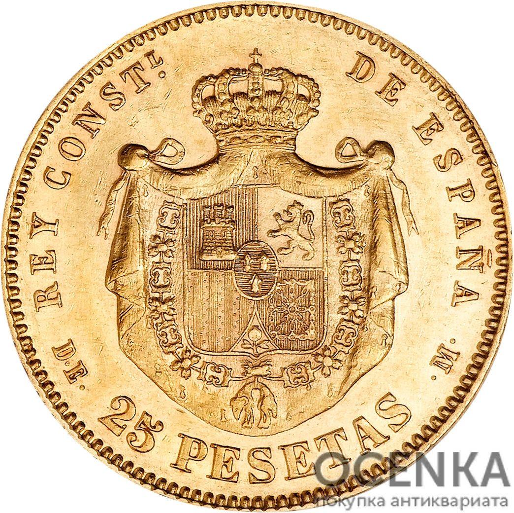 Золотая монета 25 Песет (25 Pesetas) Испания