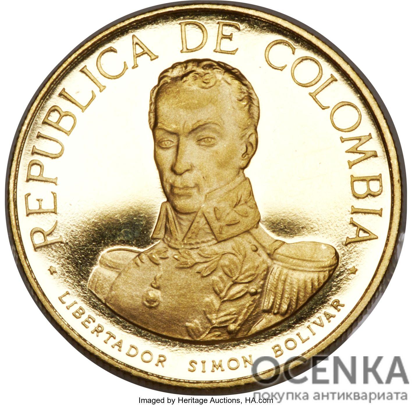 Золотая монета 200 Песо (200 Pesos) Колумбия - 3