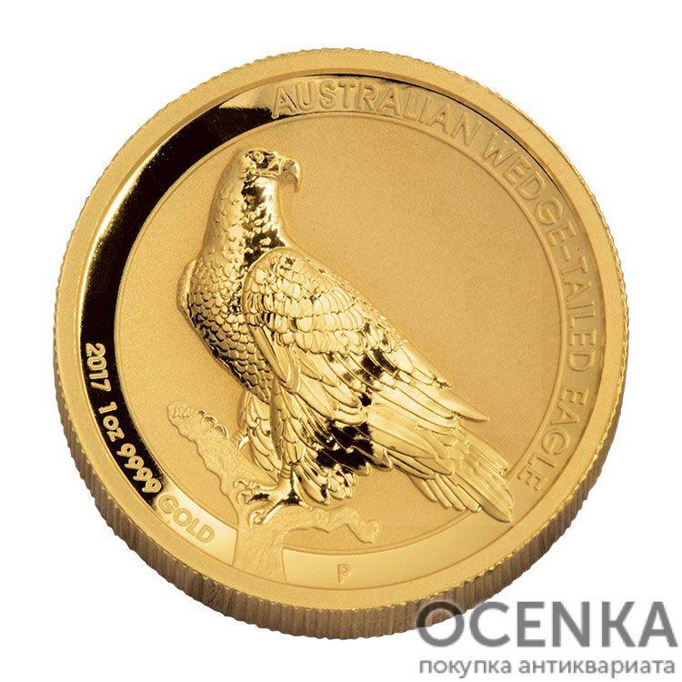 Золотая монета 100 долларов 2017 год. Австралия. Клиновидный орел