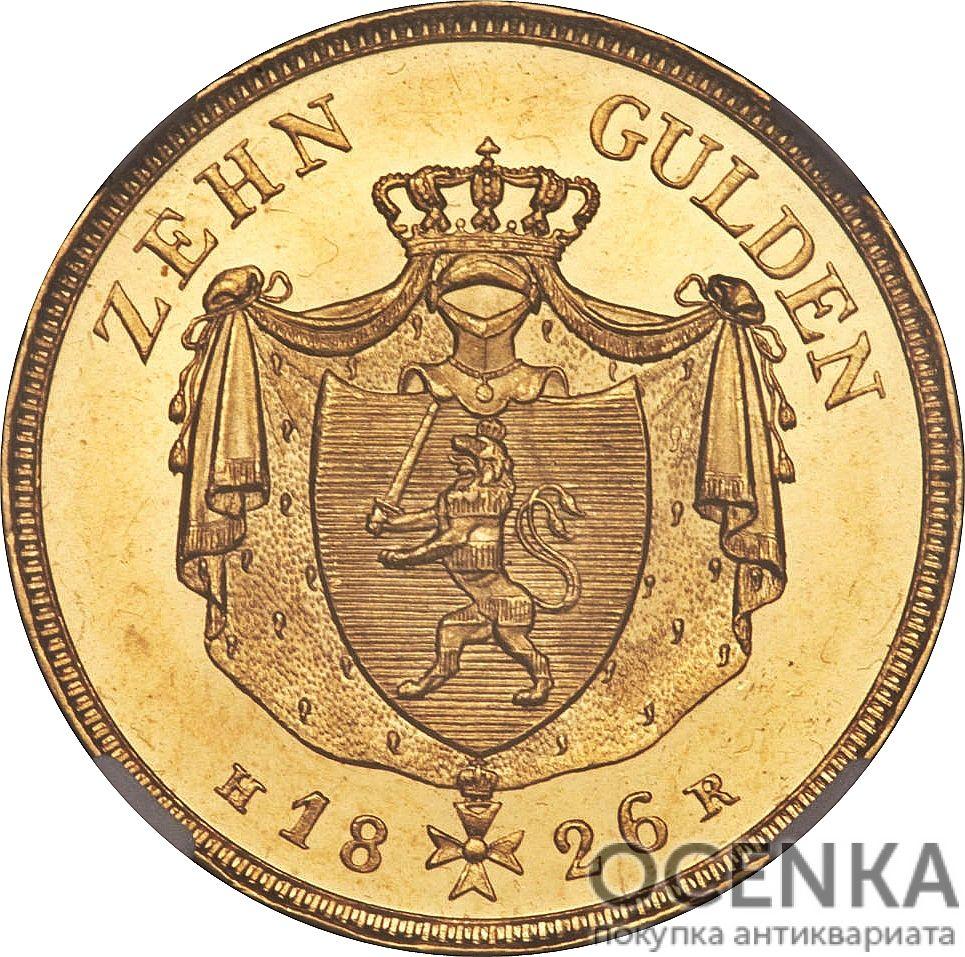 Золотая монета 10 Гульденов Германия - 2