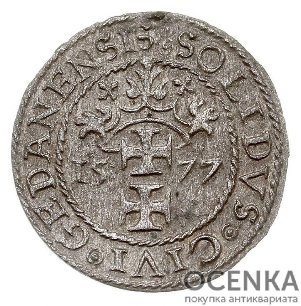 Серебряная монета Шеляг (1/3 Гроша) Средневековой Польши - 4