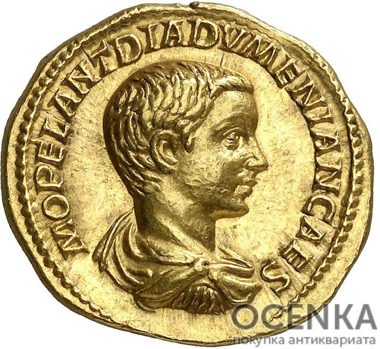 Золотой ауреус, Марк Опеллий Антонин Диадумениан, 218 год